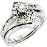 0.25 Carat (ctw) 14k White Gold Round White Diamond Ladies Bridal Engagement Ring Set