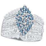 1.00 Carat (ctw) 10k White Gold Round & Baguette Cut Blue & White Diamond Ladies Right Hand Cluster Ring