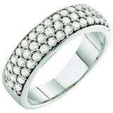 1.00 Carat (ctw) 10k White Gold Round White Diamond Ladies Anniversary Wedding Band Ring