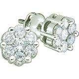 0.15 Carat (ctw) 10k White Gold Round White Diamond Ladies Cluster Flower Earrings