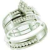 0.51 Carat (ctw) 14k White Gold Brilliant White Diamond Men's & Women's Cluster Engagement Ring Trio Set