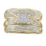 0.30 Carat (ctw) 10K Yellow Gold Round Cut White Diamond Men & Women's Cluster Engagement Ring Trio Bridal Set 1/3 CT