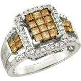 1.01 Carat (ctw) 14k White Gold Round & Princess Cut White & Champagne Diamond Ladies Split Shank Invisible Ring