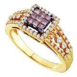 0.50 Carat (ctw) 14k Yellow Gold Round & Princess Cut Champagne & White Diamond Ladies Invisible Engagemeant Ring