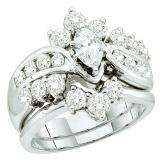 1.99 Carat (ctw) 14k White Gold Round & Marquise Cut White Diamond Ladies Bridal Engagement Ring Set