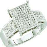 0.33 Carat (ctw) 10k White Gold Round White Diamond Ladies Micro Pave Engagement Ring