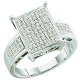 0.30 Carat (ctw) 10k White Gold Round White Diamond Ladies Micro Pave Bridal Engagement Ring