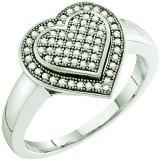 0.25 Carat (ctw) 10k White Gold Round White Diamond Ladies Bridal Heart Promise Ring