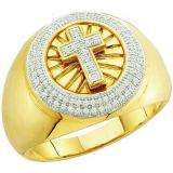 0.30 Carat (ctw) 10k Yellow Gold Brilliant White Diamond Men's Hip Hop Micro Pave Cross Band Ring