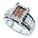 2.00 Carat (ctw) 14k White Gold Round Baguette & Princess White & Brown Diamond Ladies Right Hand Invisible Ring