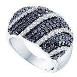 1.75 Carat (ctw) 14k White Gold Round White & Black Diamond Ladies Right Hand Fashion Band