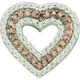 0.76 Carat (ctw) 14k White Gold Round Brown & White Diamond Ladies Heart Pendant