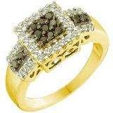 0.53 Carat (ctw) 14k Yellow Gold Round Black & White Diamond Ladies Fashion Right Hand Ring