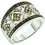 0.50 Carat (ctw) 14k White Gold Round White Brown & Black Diamond Ladies Right Hand Fashion Band