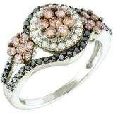 1.00 Carat (ctw) 14k White Gold Round White Brown & Black Diamond Ladies Right Hand Flower Ring