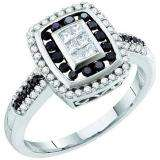 0.50 Carat (ctw) 14k White Gold Black & White Diamond Ladies Invisible Right Hand Ring