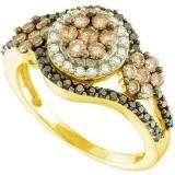 1.00 Carat (ctw) 14k Yellow Gold Round White Brown & Black Diamond Ladies Right Hand Flower Ring