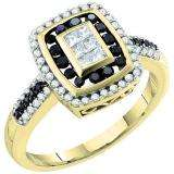 0.50 Carat (ctw) 14k Yellow Gold Black & White Diamond Ladies Invisible Right Hand Ring