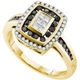 0.50 Carat (ctw) 14k Yellow Gold Round & Princess Cut Black & White Diamond Ladies Right Hand Invisible Ring