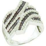 1.03 Carat (ctw) 10k White Gold Round Black & White Diamond Ladies Right Hand Fashion Band