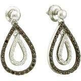 0.78 Carat (ctw) 14k White Gold Round Black & White Diamond Ladies Fashion Drop Earrings