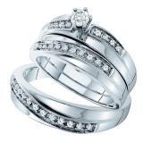 0.26 Carat (ctw) 14k White Gold Brilliant White Diamond Men's & Women's Engagement Ring Trio Set