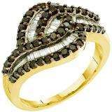 0.95 Carat (ctw) 14k Yellow Gold Round & Baguette Cut Black & White Diamond Ladies Right Hand Fashion Band