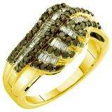 0.78 Carat (ctw) 14k Yellow Gold Round & Baguette Cut Black & White Diamond Ladies Right Hand Fashion Ring