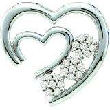 0.07 Carat (ctw) 10k White Gold Diamond Ladies Cluster Flower With Double Heart Pendant