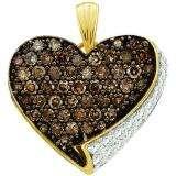 0.85 Carat (ctw) 10k Yellow Gold Brown & White Diamond Ladies Heart Pendant