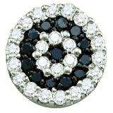 0.27 Carat (ctw) 10k White Gold Round Black & White Diamond Ladies Cluster Pendant