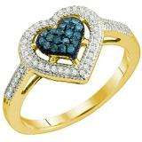 0.25 Carat (ctw) 10k Yellow Gold Blue & White Diamond Ladies Bridal Promise Heart Engagement Ring