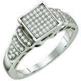 0.20 Carat (ctw) 10k White Gold Round White Diamond Ladies Bridal Engagement Ring