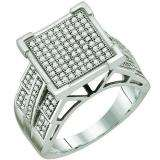 0.50 Carat (ctw) Sterling Silver Brilliant White Diamond Ladies Micro Pave Engagement Ring