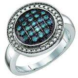 0.20 Carat (ctw) Sterling Silver Blue Diamond Ladies Cluster Ring