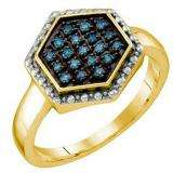 0.18 Carat (ctw) 18k Yellow Gold Plated Sterling Silver Blue Diamond Ladies Cluster Ring