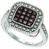 0.19 Carat (ctw) Sterling Silver White & Cognac Diamonds Ladies Vintage Style Ring