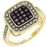 0.19 Carat (ctw) 18k Yellow Gold Plated Sterling Silver Round Diamond Ladies Micro Pave Ring