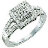 0.20 Carat (ctw) 10k White Gold Brilliant White Diamond Ladies Vintage Style Bridal Engagement Ring