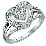0.25 Carat (ctw) 10k White Gold Round White Diamond Ladies Promise Heart Engagement Ring