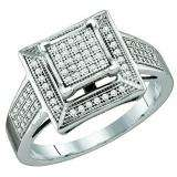 0.25 Carat (ctw) 10k White Gold Brilliant White Diamond Ladies Micro Pave Bridal Engagement Ring