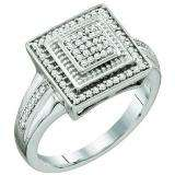 0.22 Carat (ctw) 10k White Gold Round White Diamond Ladies Micro Pave Bridal Engagement Ring