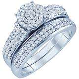 0.50 Carat (ctw) 10k White Gold Brilliant White Diamond Ladies Micro Pave Engagement Ring Bridal Set