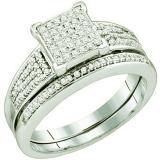 0.33 Carat (ctw) 10k White Gold Round White Diamond Ladies Micro Pave Bridal Engagement Ring set