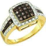 0.50 Carat (ctw) 14k Yellow Gold Round Champagne & White Diamond Ladies Right Hand Fashion Ring