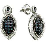 0.25 Carat (ctw) Sterling Silver Blue Diamond Ladies Dangling Earrings