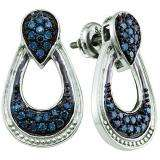 0.68 Carat (ctw) Sterling Silver Round Blue Diamond Ladies Drop Earrings