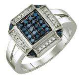0.25 Carat (ctw) Sterling Silver Round Blue Diamond Ladies Cluster Ring