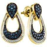 0.68 Carat (ctw) 18k Yellow Gold Plated Sterling Silver Round Blue Diamond Ladies Drop Earrings