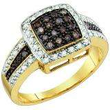 0.53 Carat (ctw) 10k Yellow Gold Champagne & White Diamond Ladies Micro Pave Right Hand Ring